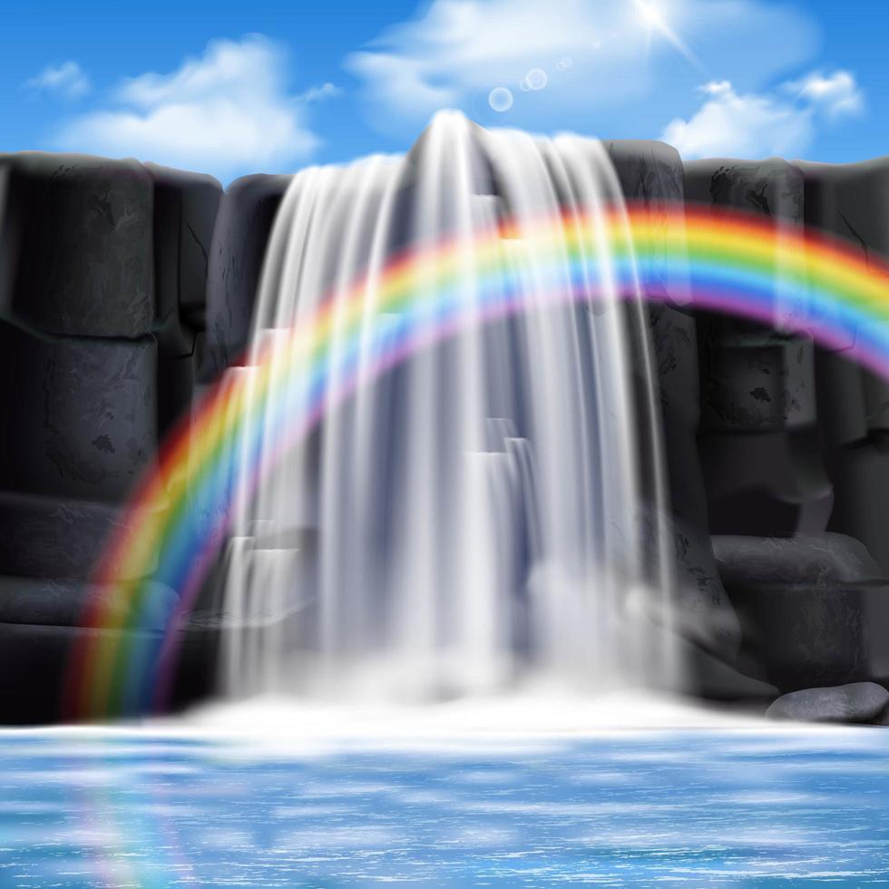 Wasserfälle realistische Kompositionen vektor