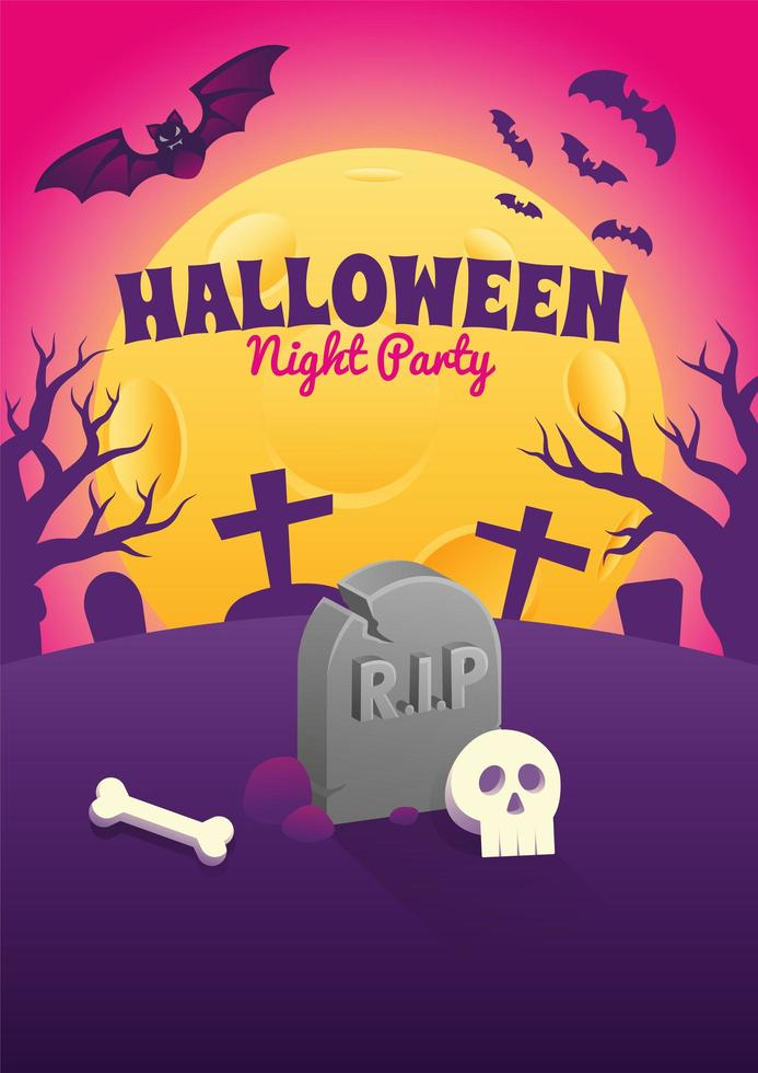 Halloween-Plakat mit Grabstein und Schädel in der Nacht vektor