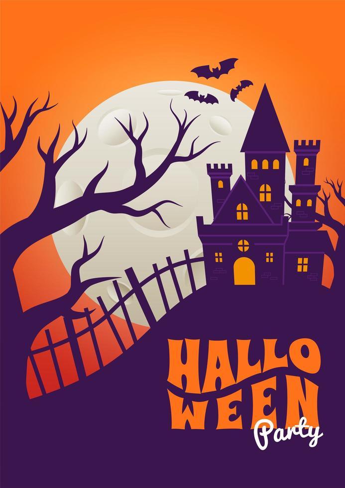 Halloween-Plakat mit gruseliger Schlossschattenbildszene vektor