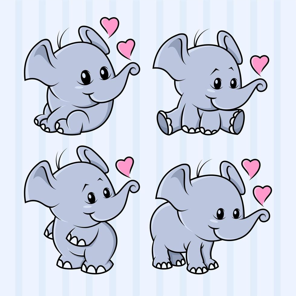 4 Satzikone niedlichen Elefantenkarikaturentwurf vektor