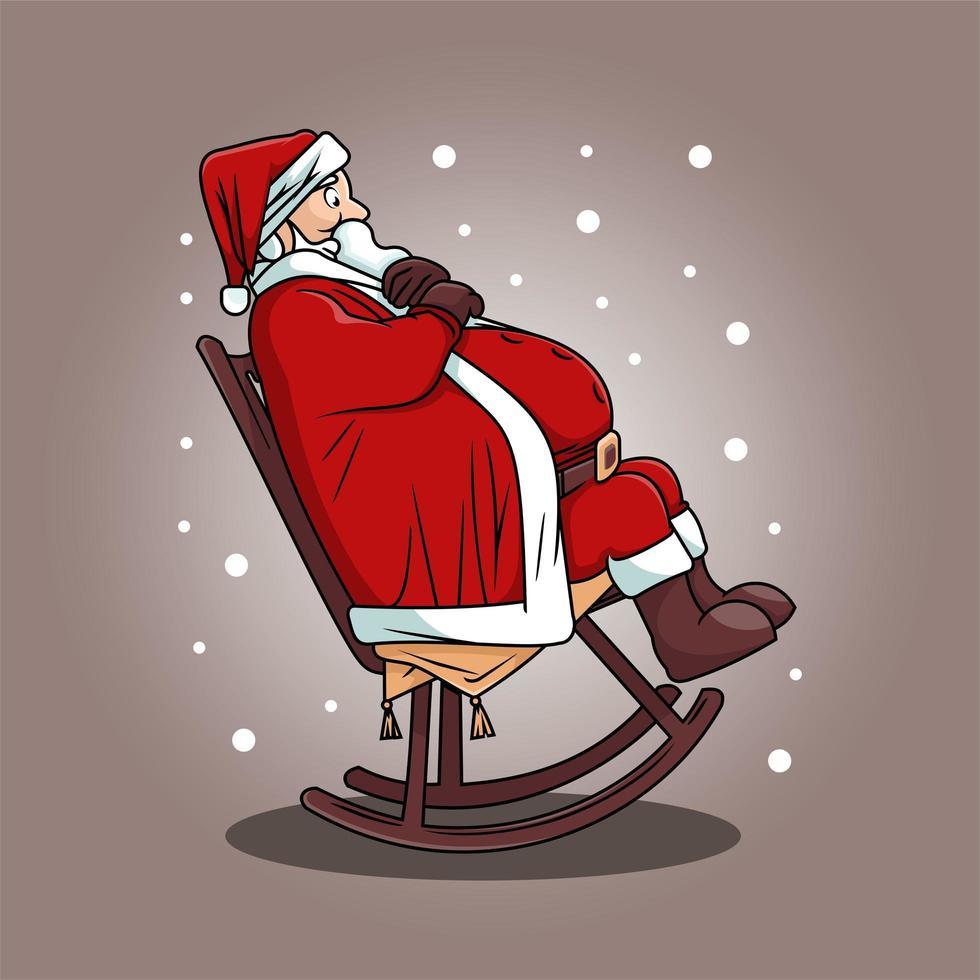 niedlicher Weihnachtsmann im Schaukelstuhl-Cartoon-Design vektor