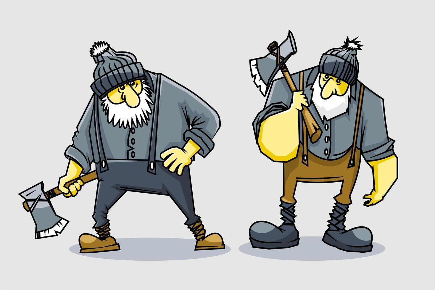 2 Satz Holzarbeiter Cartoon Design vektor