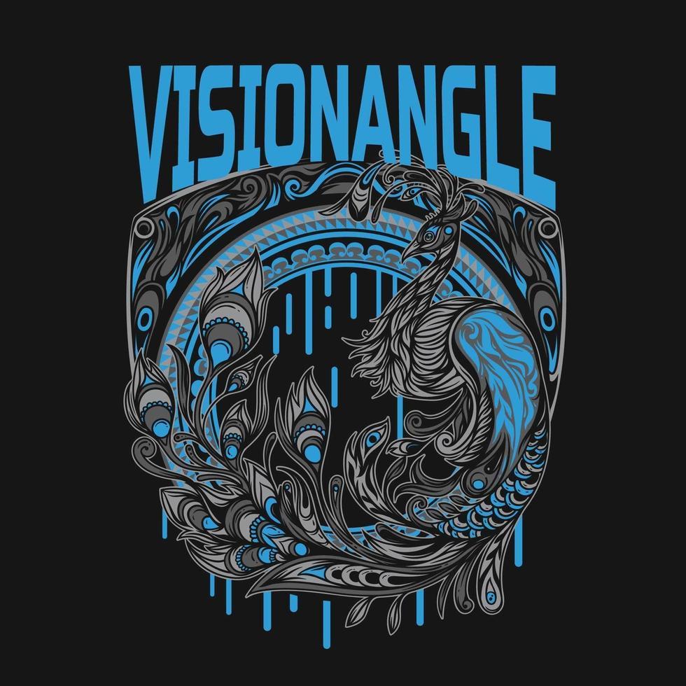 blå påfågel t-shirt design vektor