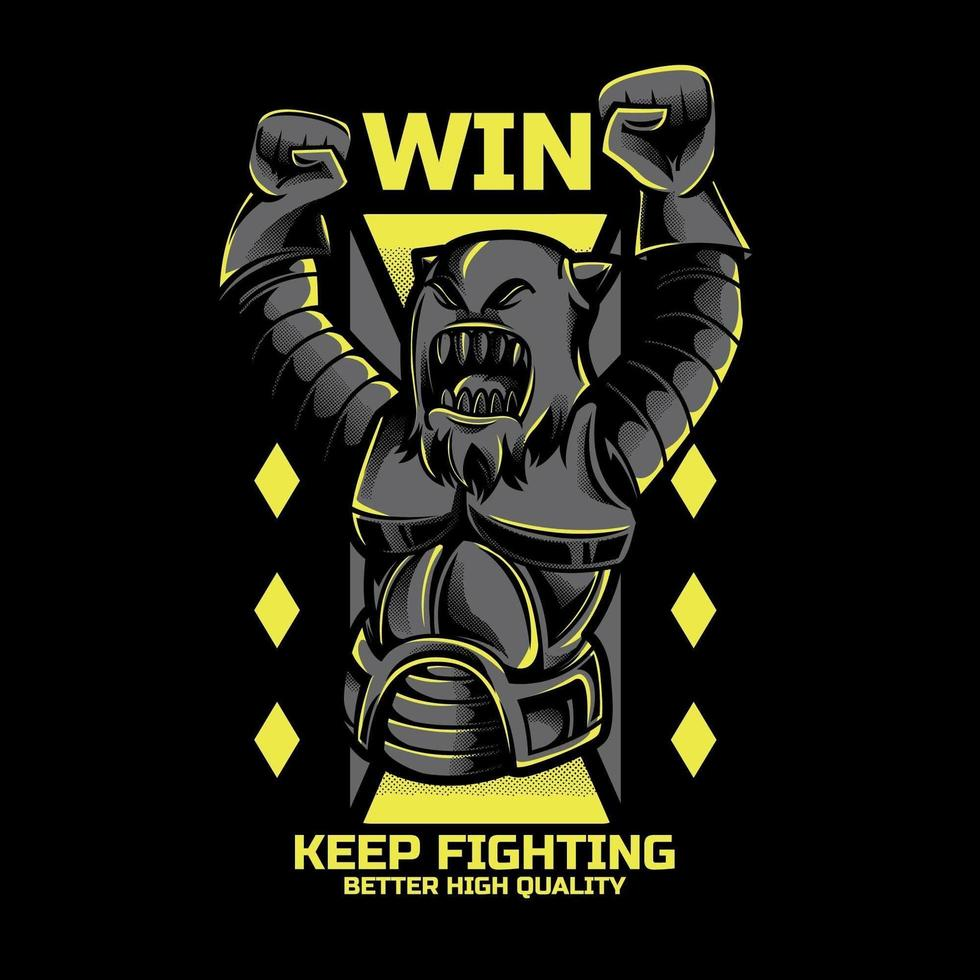 Roboter Kämpfer T-Shirt Design vektor