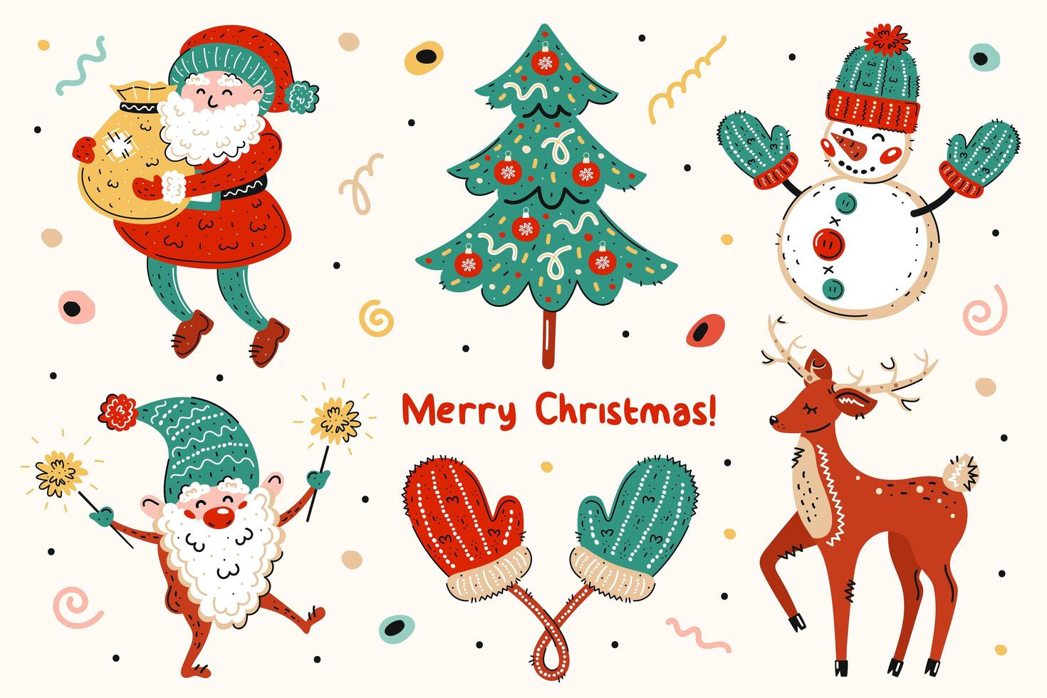 jultomten, julgran, snögubbe, älva, vantar, hjortuppsättning vektor