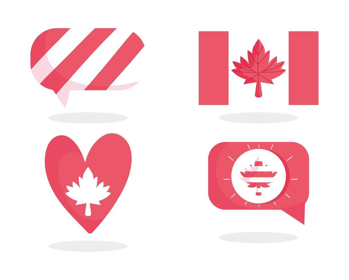 kanadische Flagge, Ahornblatt, Blase und Herz vektor