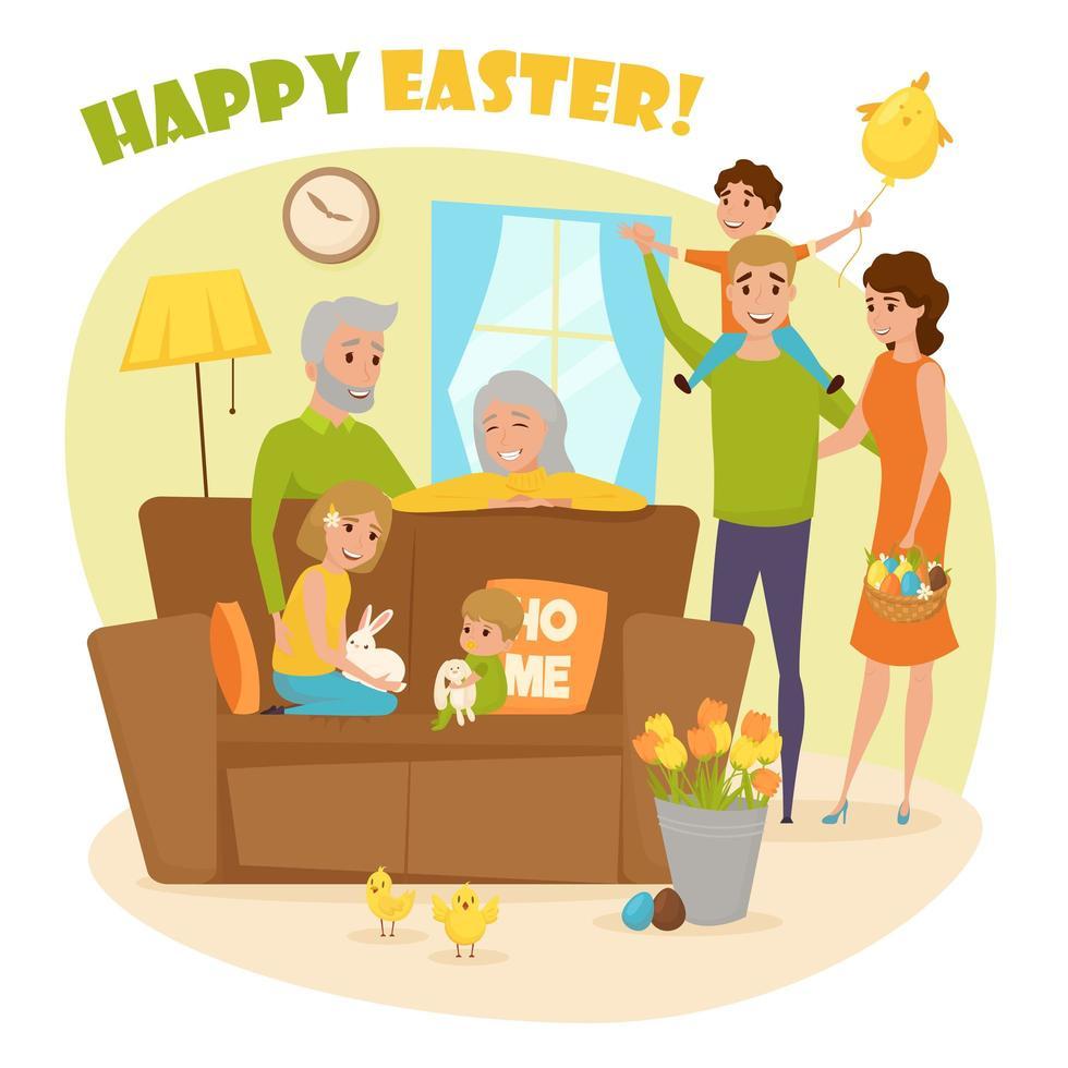 eine Familie, die die Osterferien feiert vektor