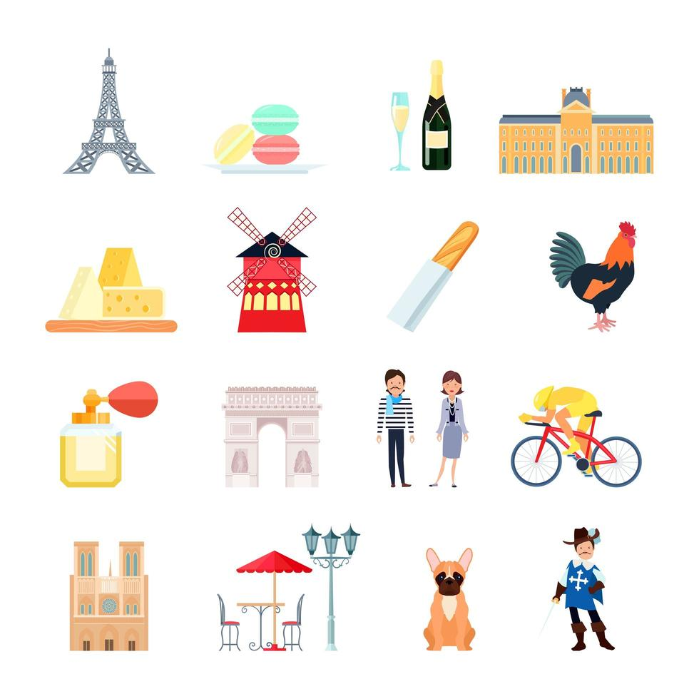 Französisch Icon Set vektor