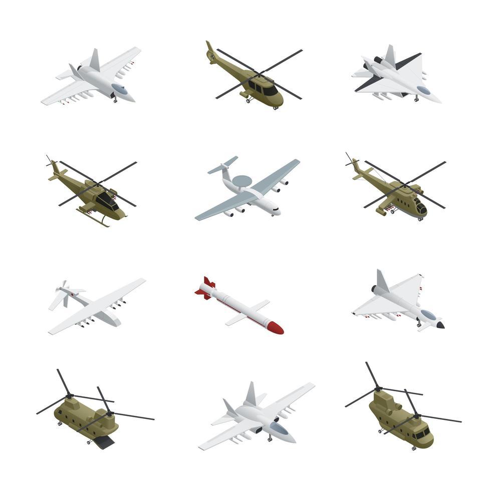 isometrisches Militärflugzeug eingestellt vektor