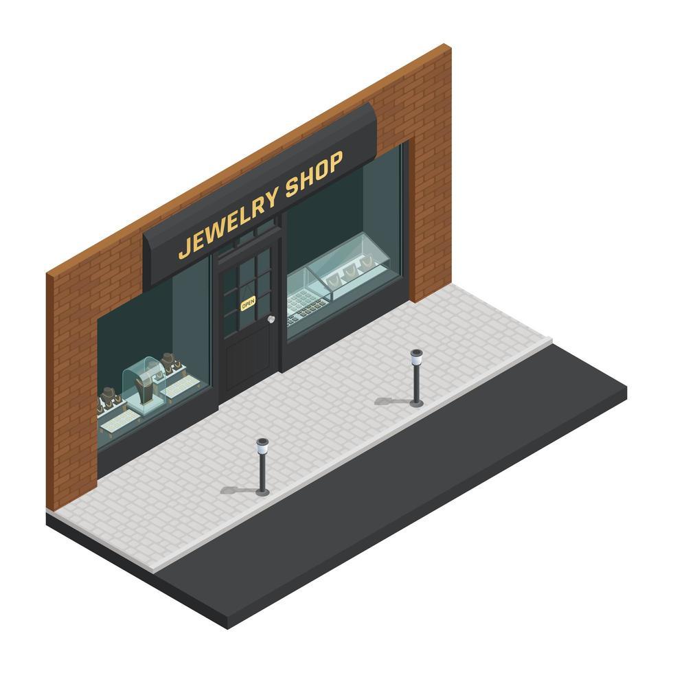 isometrisches Juweliergeschäft vektor