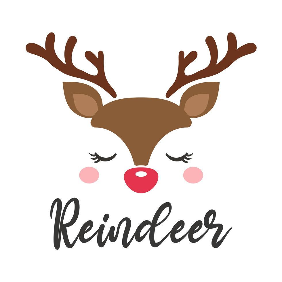 niedliches Rentiergesicht-Weihnachtskartenentwurf vektor