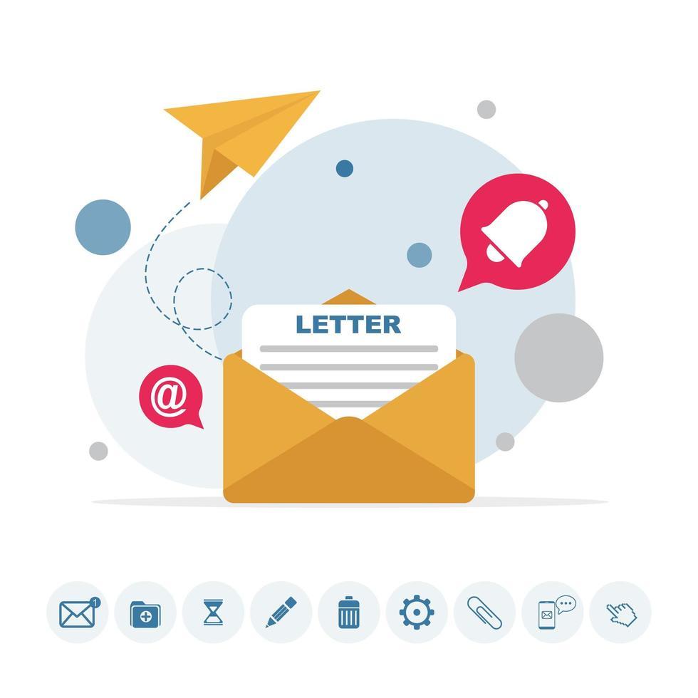 E-Mail-Nachricht, Infografik zum Arbeitsprozess mit Symbolen vektor