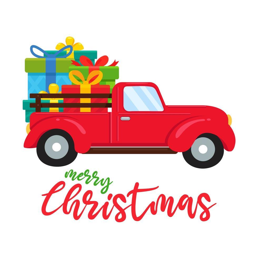 roter LKW, der große Weihnachtsgeschenke trägt vektor