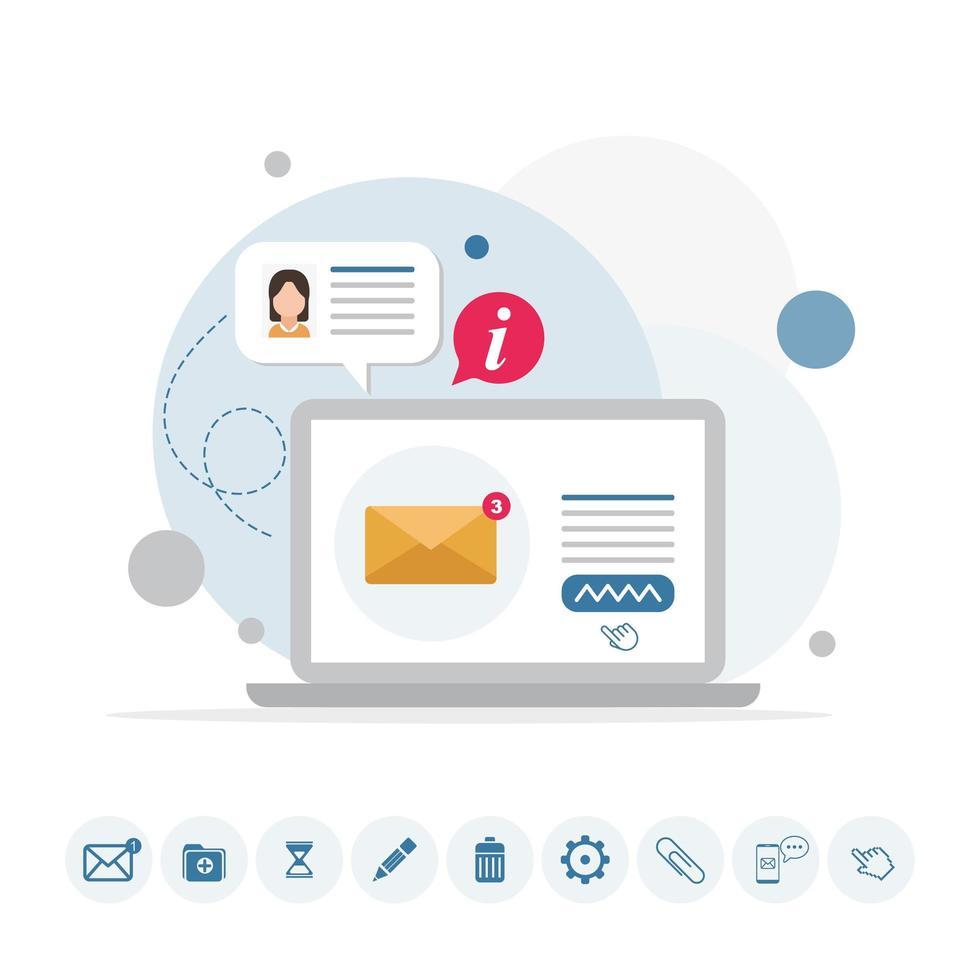 E-Mail-Nachricht auf Laptop-Infografik mit Symbolen vektor