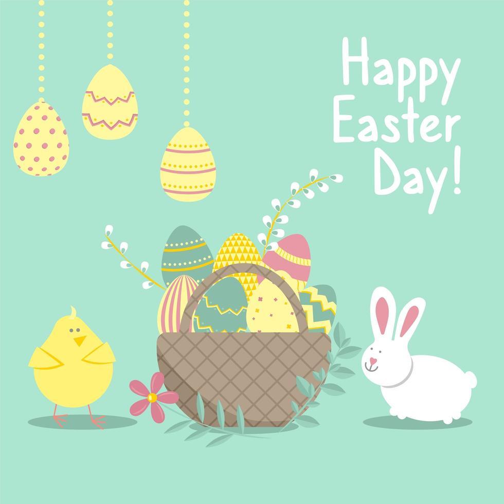 påskkort med kanin, kyckling, äggkorg, blommor vektor