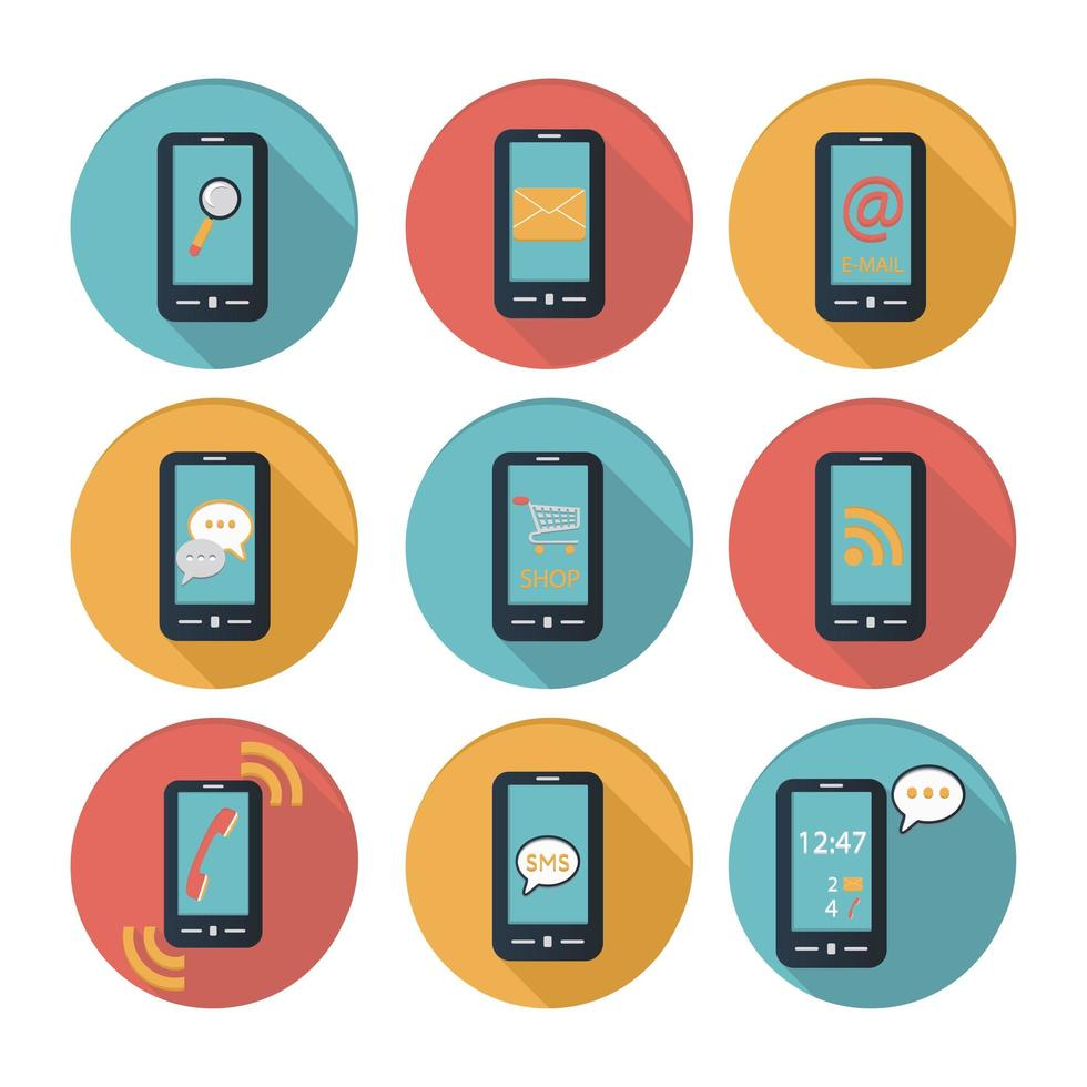 Smartphone flaches Design Icon Set vektor