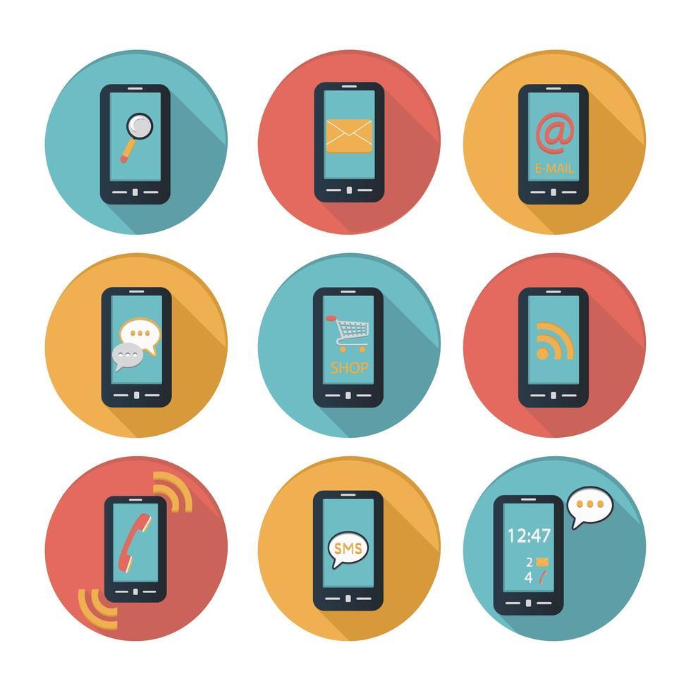 smartphone platt design ikonuppsättning vektor
