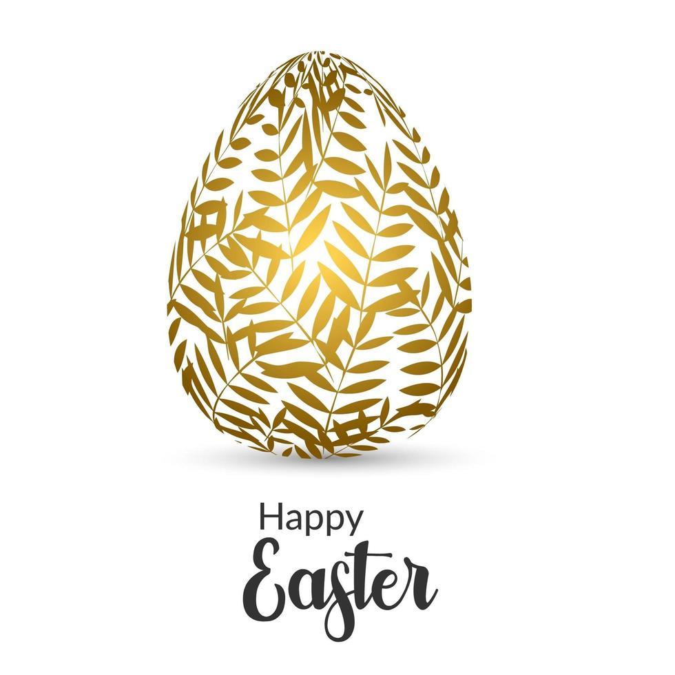 påskkort med ägg dekorerat med gyllene bladmönster vektor