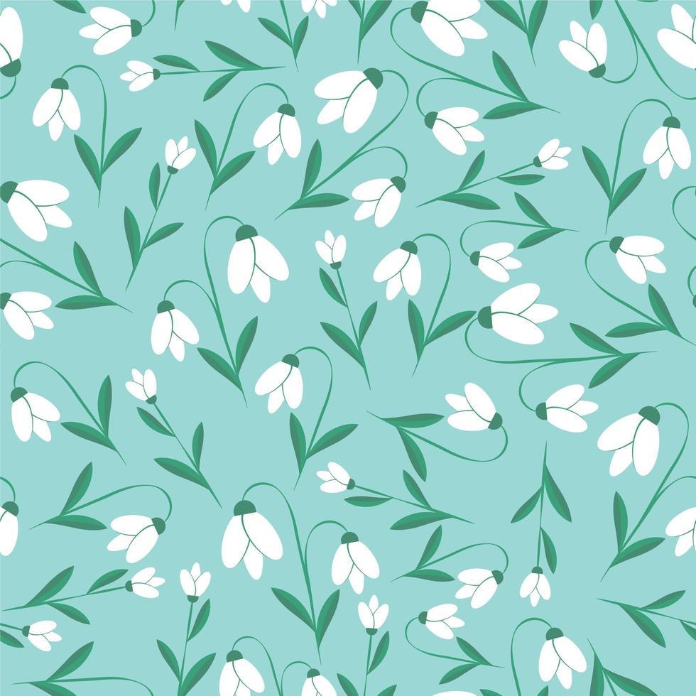 Schneeglöckchen blühen nahtlose botanische Textur vektor