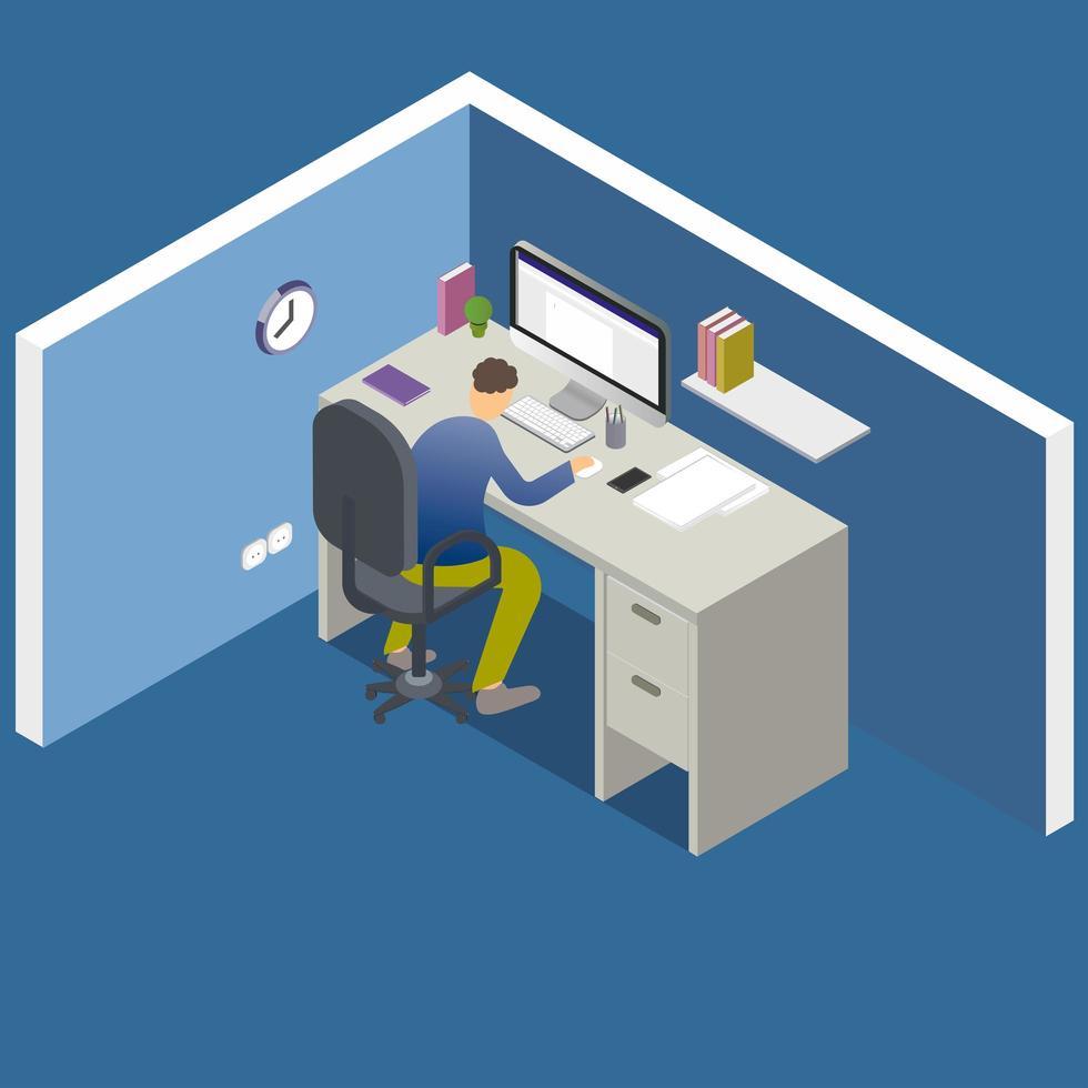 isometrisches Büro mit Mann, der am Computer arbeitet vektor