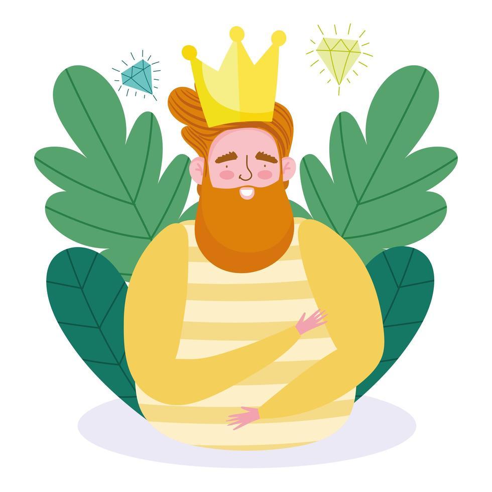 avatar man tecknad med krona och diamanter vektor