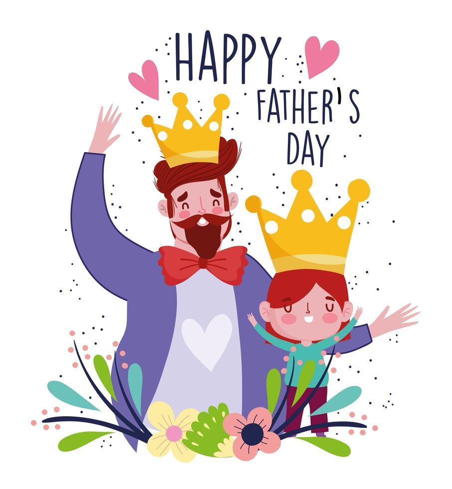 Vater und Sohn mit Kronen und Blumen feiern vektor