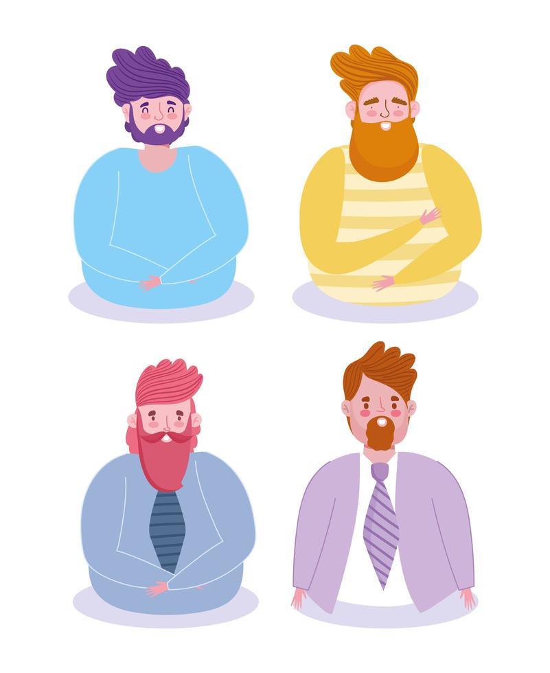 män avatarer tecknad uppsättning vektor