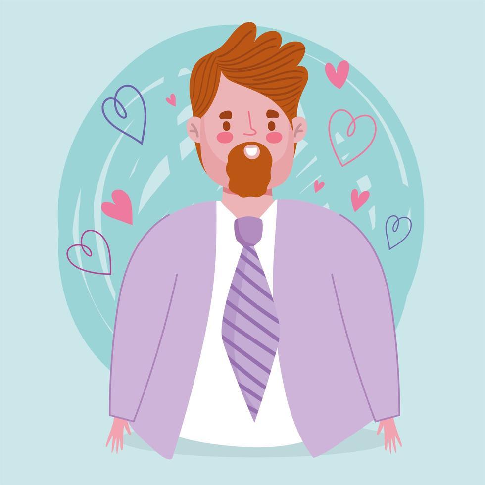 avatar man tecknad med skägg vektor