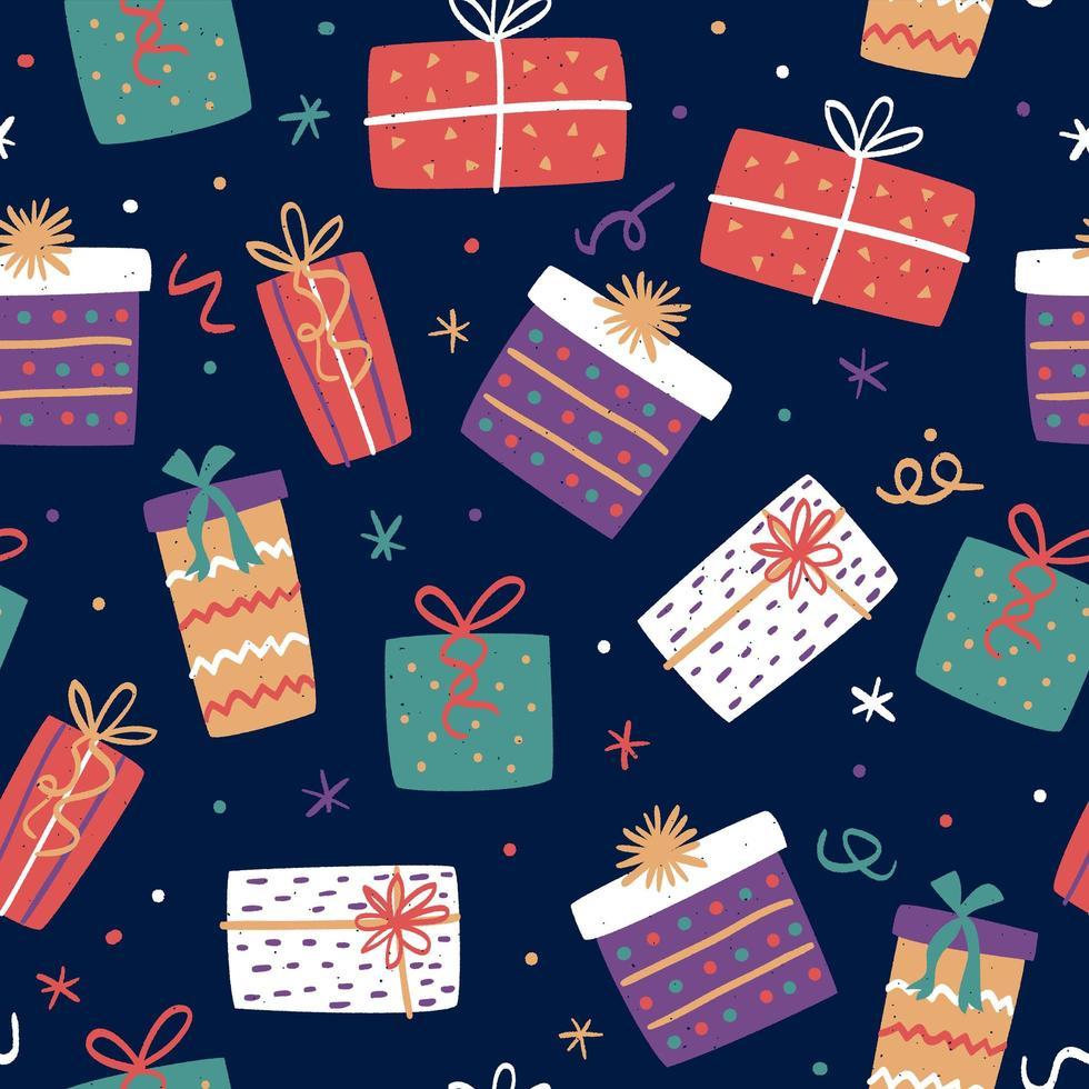 nahtloses Muster mit Weihnachtsgeschenkboxen vektor