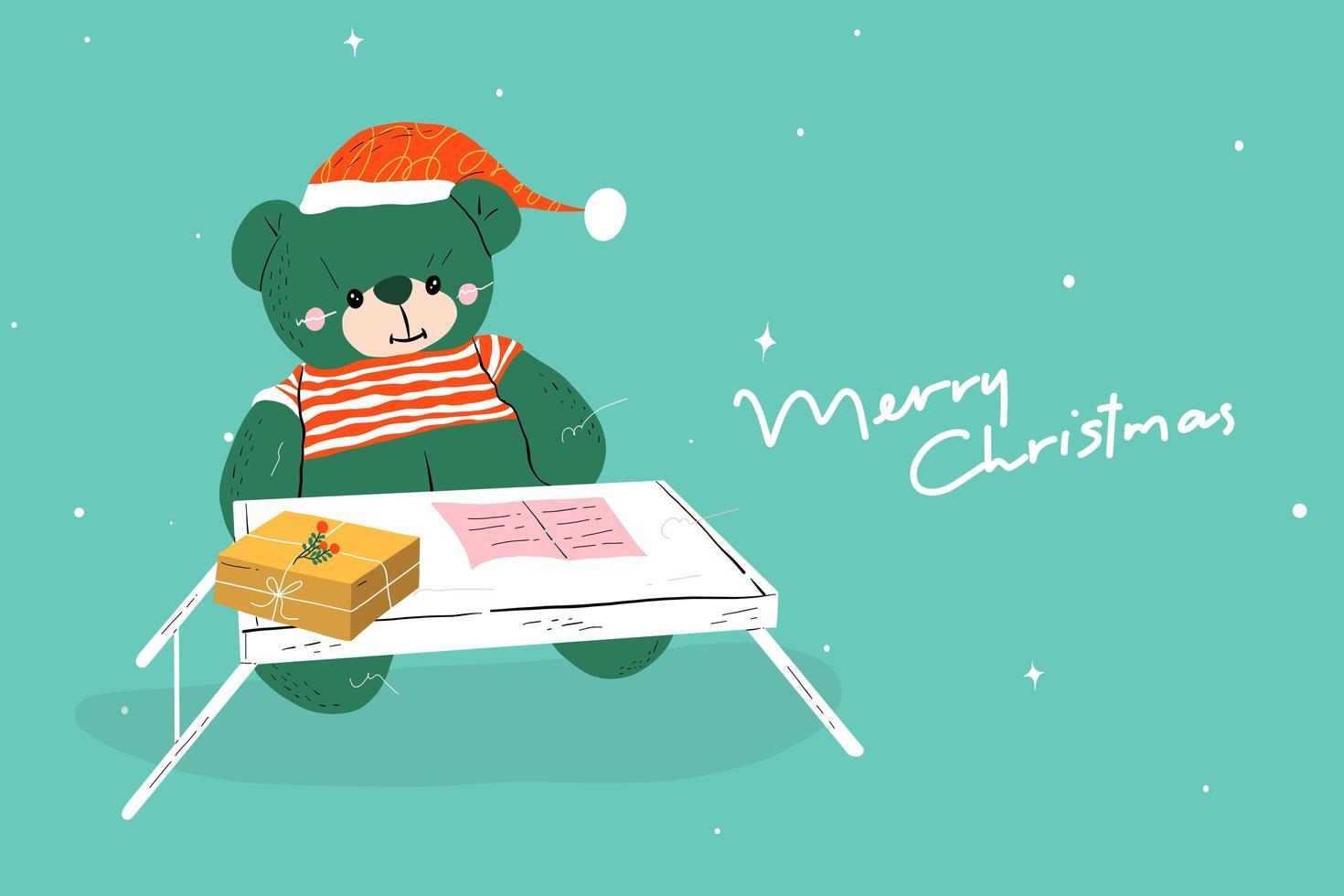 Bär trägt Weihnachtsmann Hut Postkarte vektor