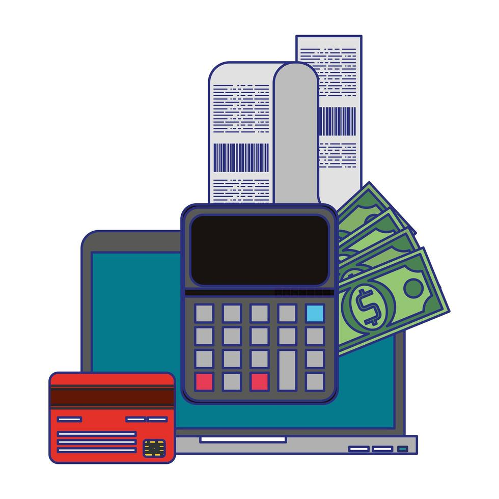Symbole für Online-Shopping und Zahlungstechnologie vektor