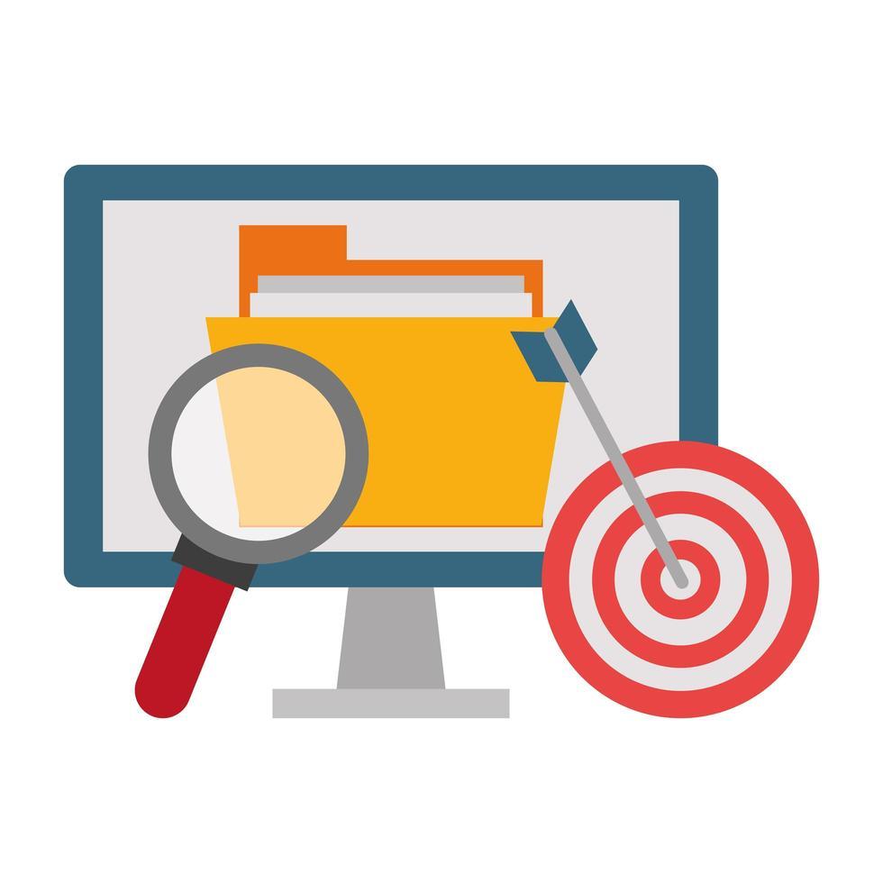 Büro- und Geschäftstechnologiesymbole mit Ziel vektor