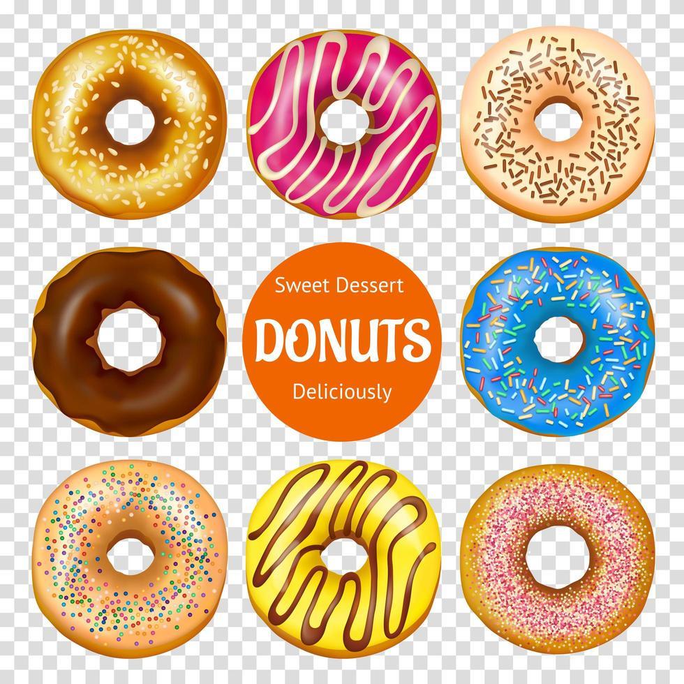 Satz realistischer Donuts vektor