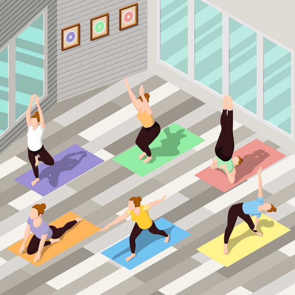 isometrische Menschen machen Yoga vektor