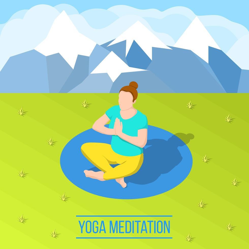 isometrisk kvinna som gör yoga utomhus vektor