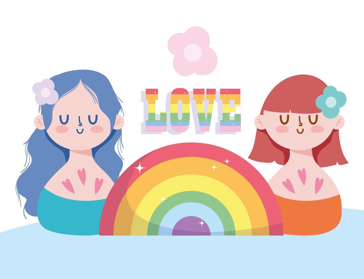 flickor tecknat med lgbti regnbåge vektor
