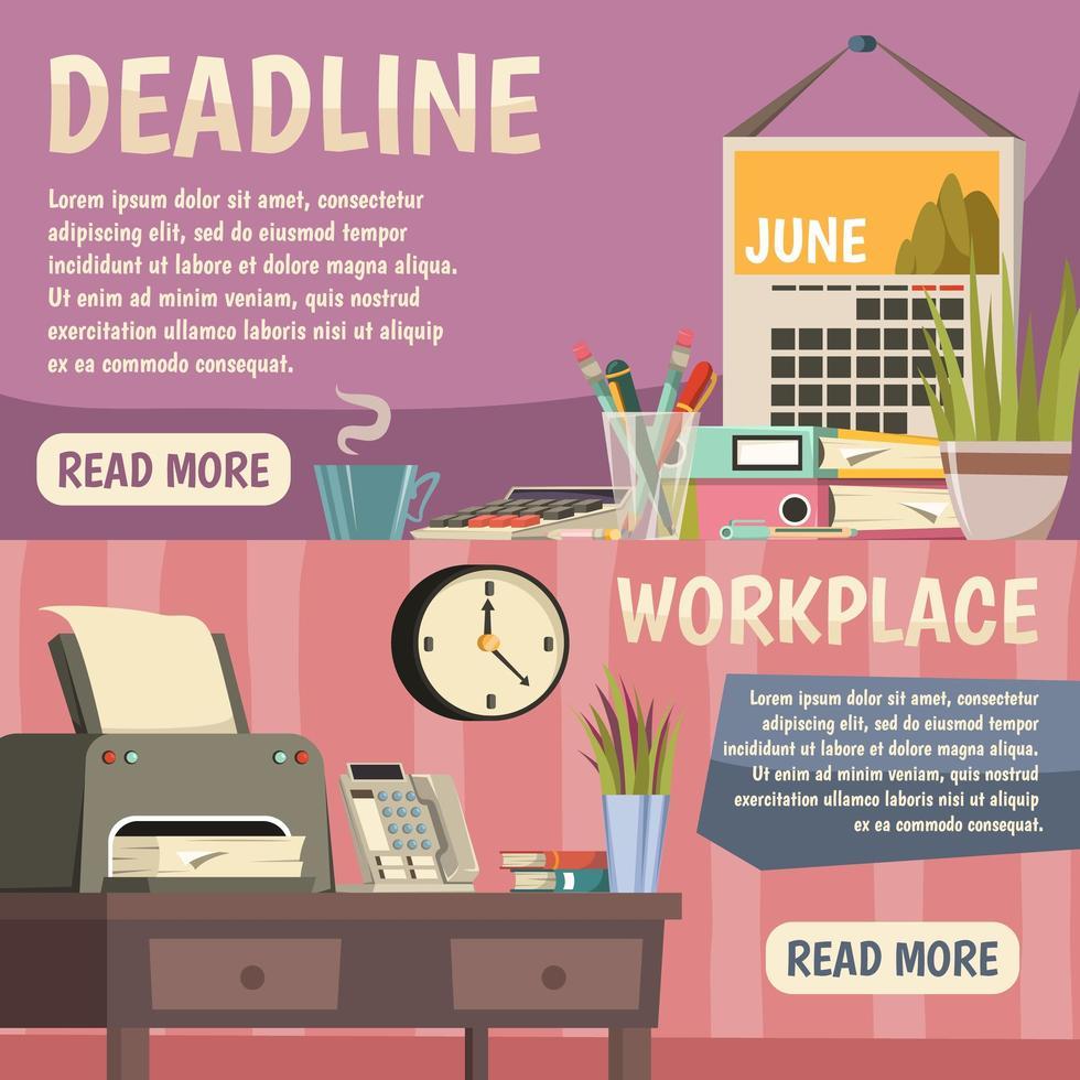 kontor och arbete banner uppsättning mall vektor