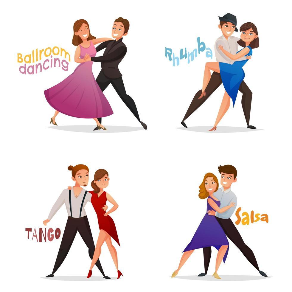 Satz von Cartoon-Paaren tanzen vektor