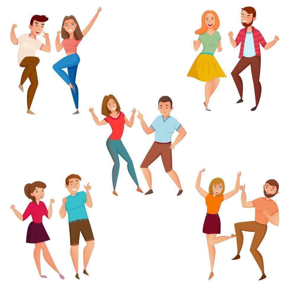 uppsättning tecknad par dansar vektor
