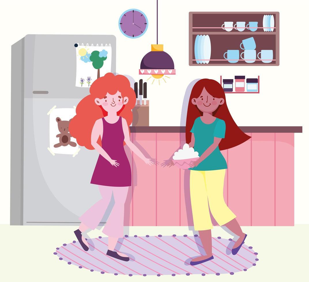 flickor som gör mat med skål i köket vektor