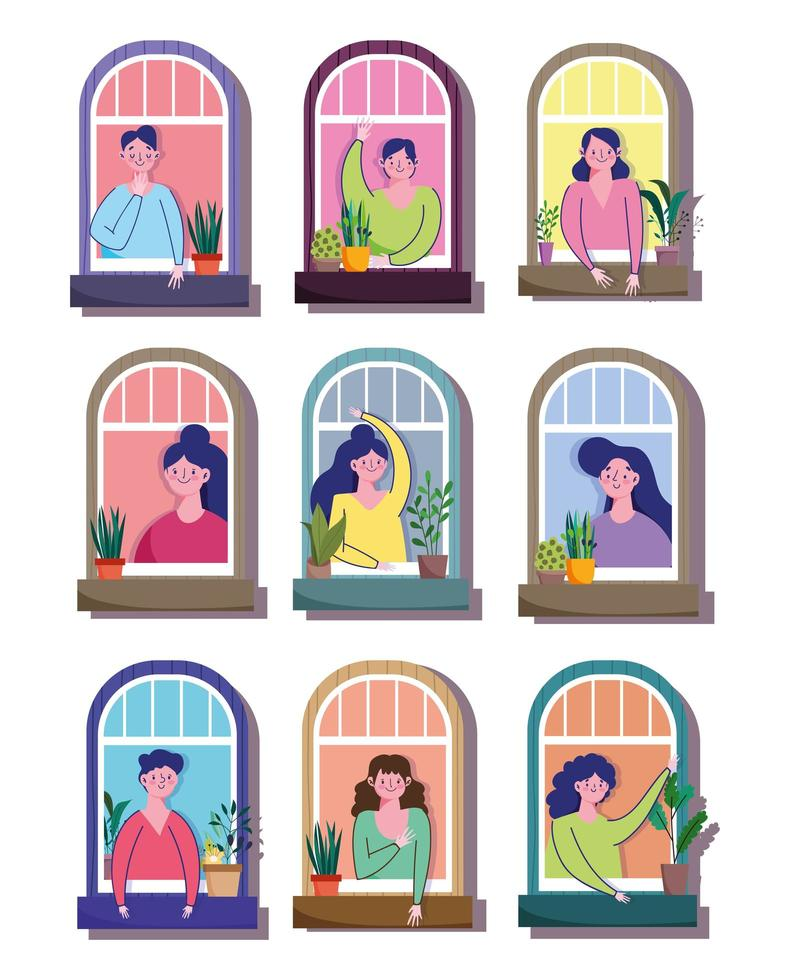 Männer und Frauen im Wohngebäude Fenster Cartoon vektor