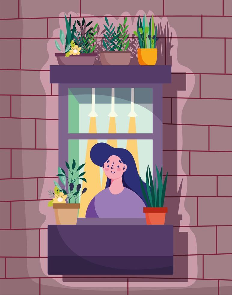Frau, die das Fenster mit Pflanze im Topf betrachtet vektor