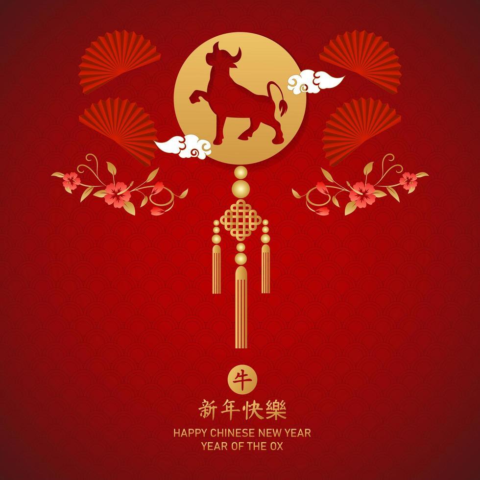 chinesisches Neujahr 2021 Jahr des Ochsenplakats vektor