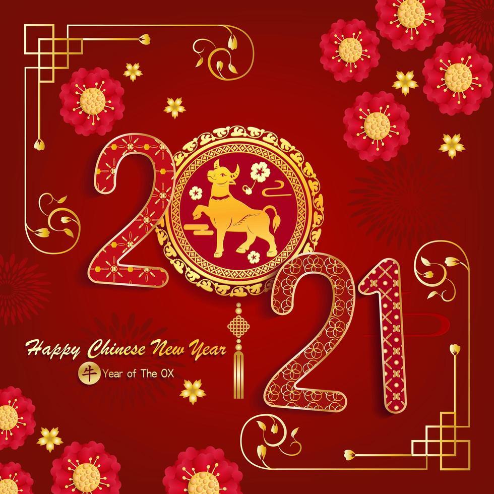 kinesiskt nyår 2021 design med asiatiska inslag vektor