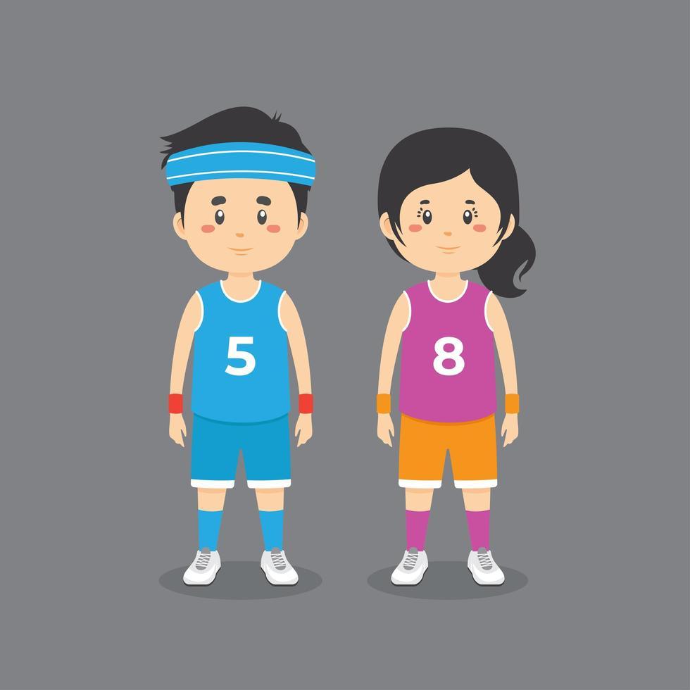 karaktärer som bär basketkläder vektor