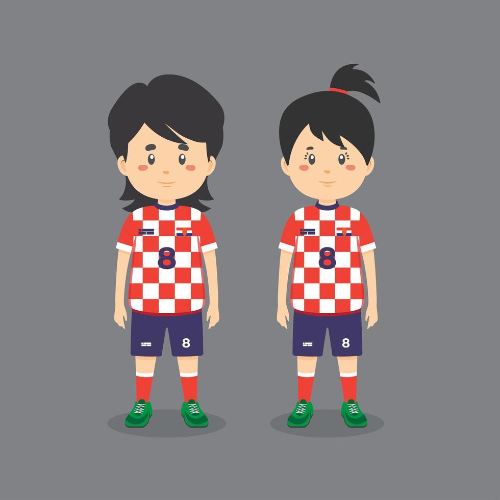 Paar Charakter trägt Fußball-Outfit vektor