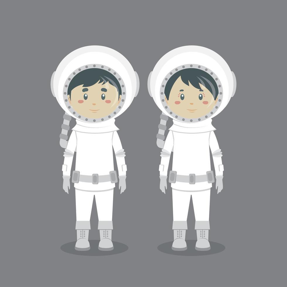 karaktärspar som bär astronautdräkt vektor
