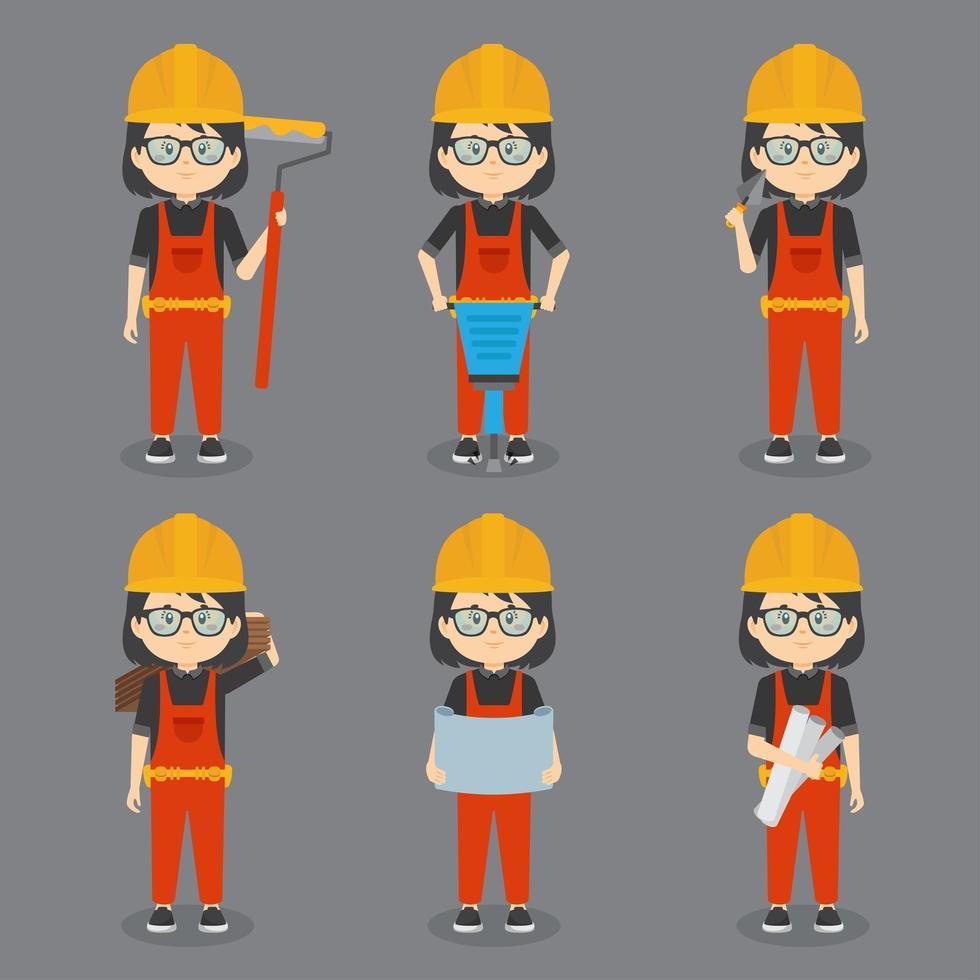 Mädchen Bauarbeiter mit verschiedenen Aktivitäten vektor