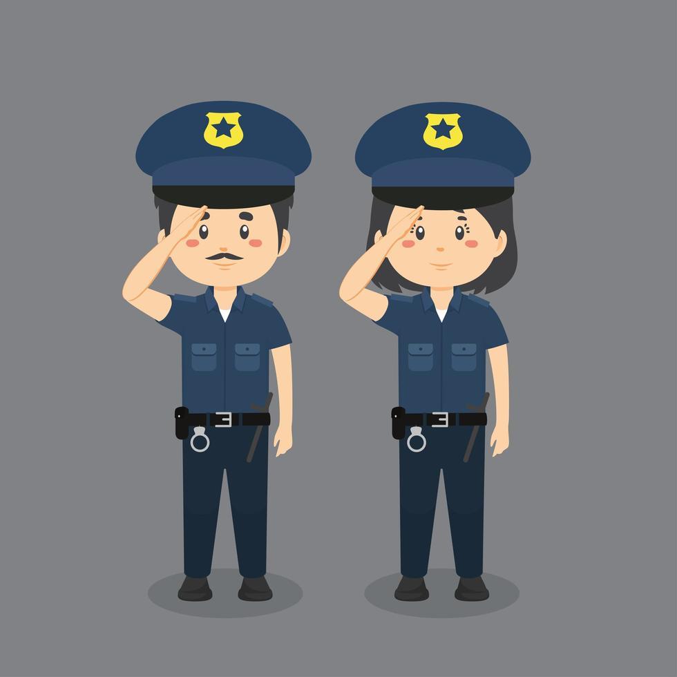 polisens karaktärsuppsättning vektor