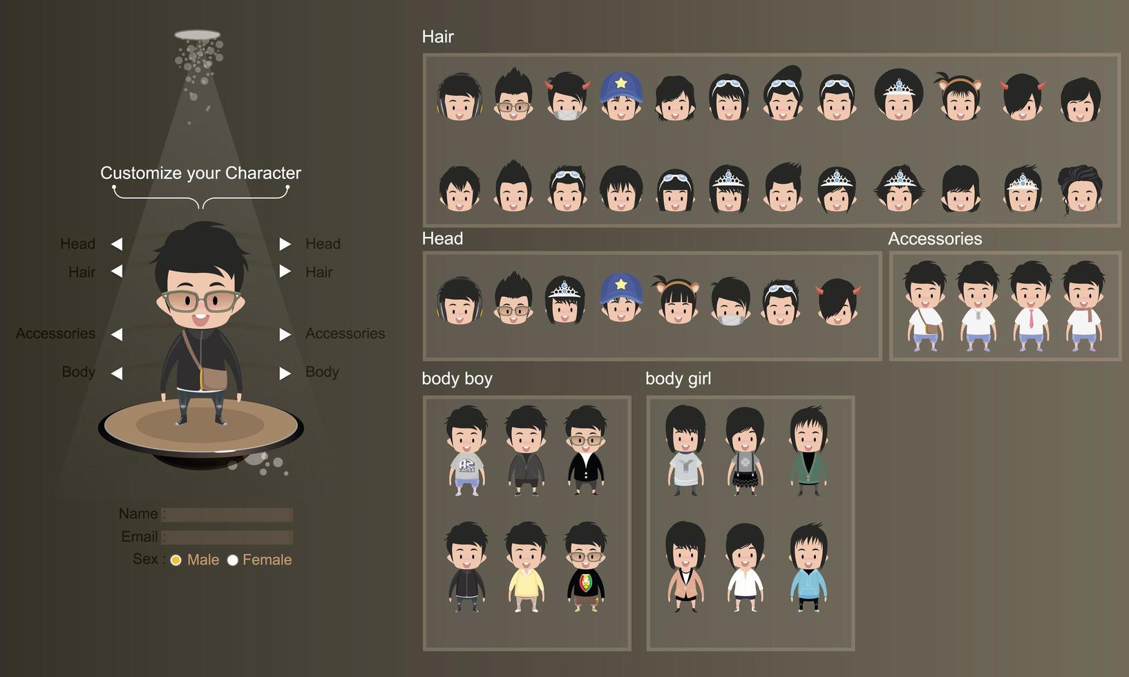 manliga och kvinnliga karaktärer avatar designuppsättning vektor